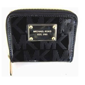 MK Logo Mirror Metallic Zip Around Bifold Wallet
